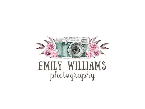 Photography Logo and watermark, Premade Logo Design, Watercolor floral camera Logo, Rustic Roses Logo, Vintage Whimsical Logo 264