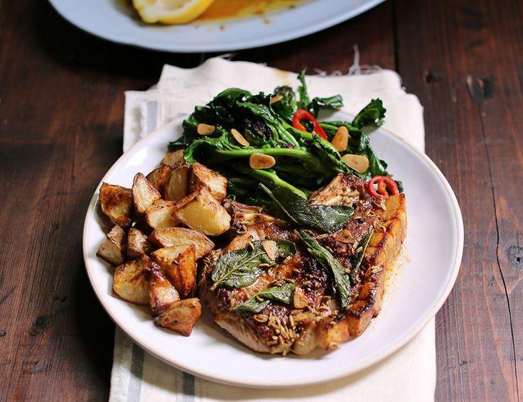Speedy Sage & Butter Pork Chops with Roast Potatoes