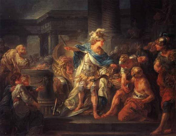 Alexander cuts through the Gordian Knot with his sword, by Jean-Simon Berthelemy