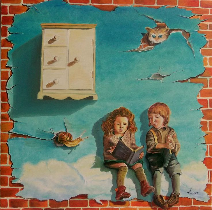 oil on canvas 60 x 60 cm year 2015 by Adina Lupan #oil #canvas #traditional #painting #surreal #child #childhood #memory