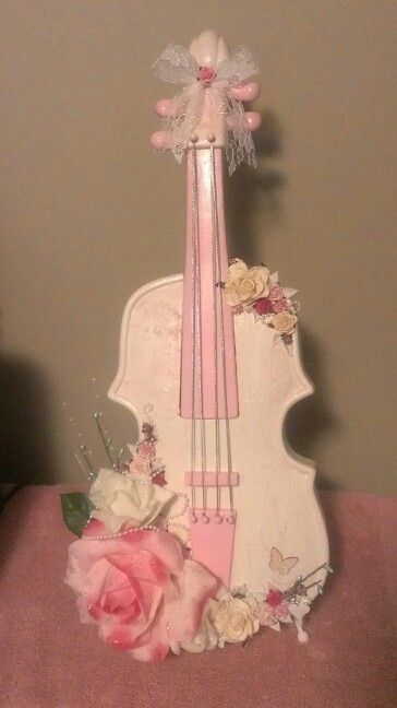 18 inch high shabby chic violin.