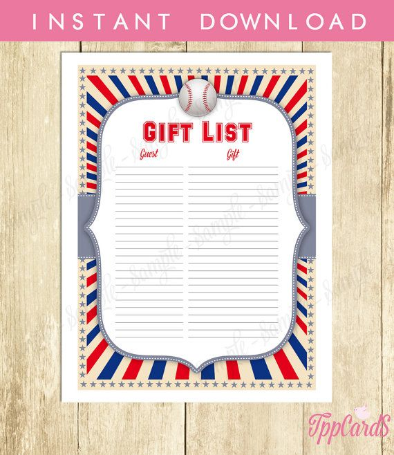 Instant Download Baseball Baby Shower Gift Registry Printable Gift List Grey Blue Red Baseball Theme Baby Shower Gift Tracking Sheet by TppCardS #tppcards