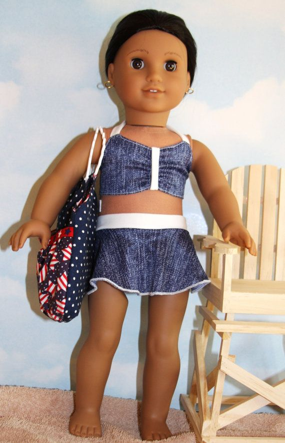 18 Inch Doll (like American Girl) Denim Print 2-Piece Skirted Swim Suit with  Tie Top. PlageTrucs De Fille ... 520fd2aa329