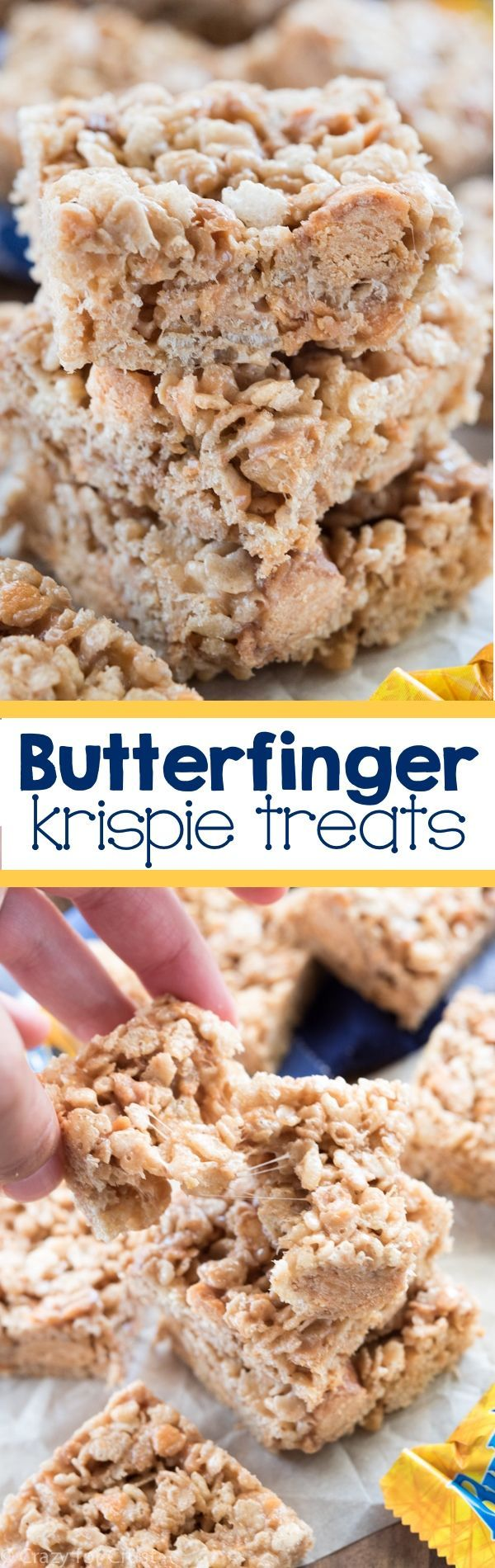 Butterfinger Krispie Treats - an easy no bake recipe with only 5 ingredients! They're full of Butterfingers too! This is my favorite rice krispies treat recipe ever!