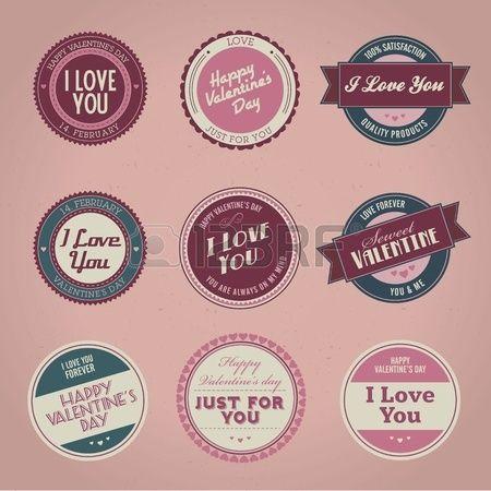 Set di etichette d'epoca in stile San Valentino