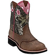 Ariat Fatbaby Boots. distressed brown, pink, mossy oak camo.