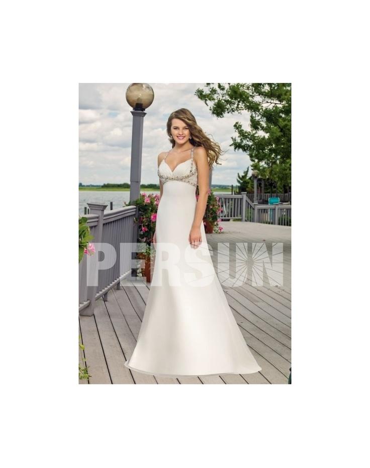 beach wedding south west uk%0A Simple Chiffon Straps Criss Cross Beading Aline Beach Wedding Dress  PERSUN CO