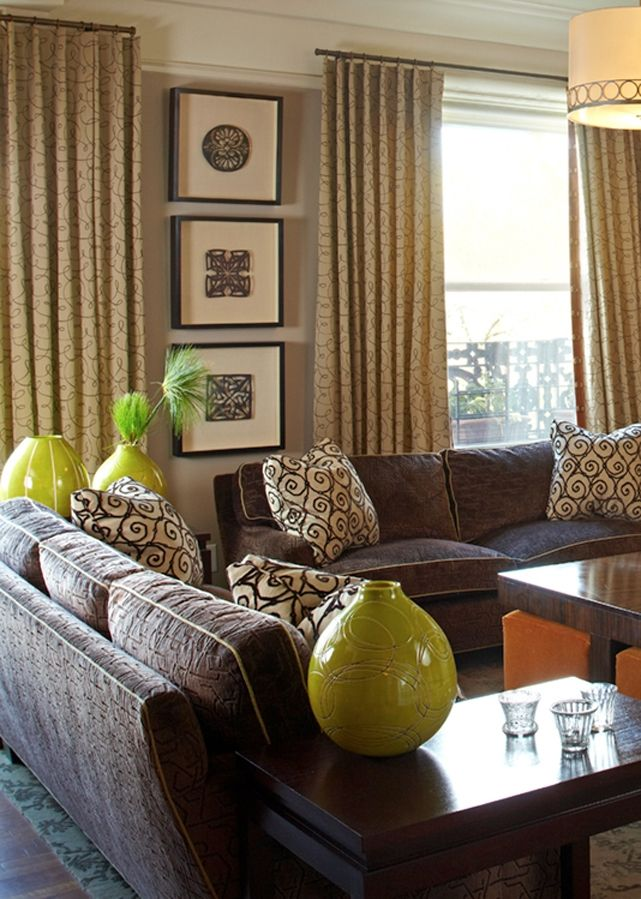 Living Room Design Green: Taupe, Brown & Lime Green