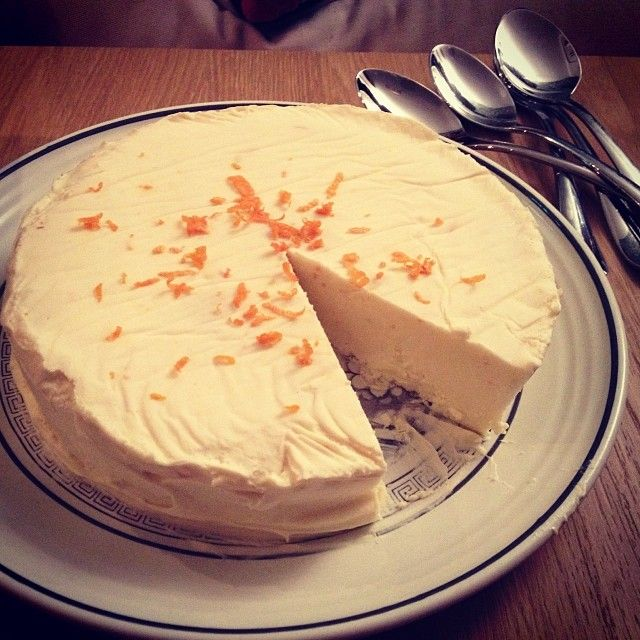 Home made white chocolate and orange mousse cake.