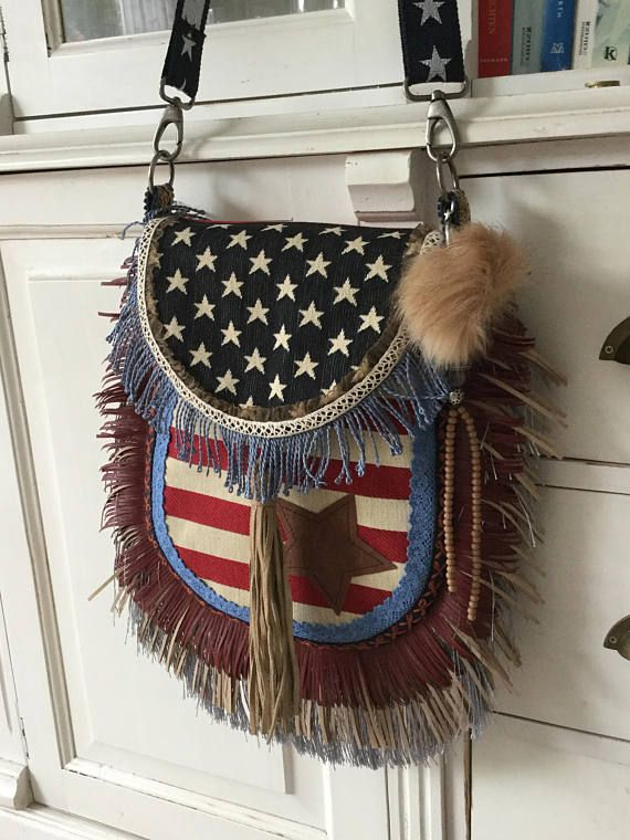 Amerika vlag tas franje tas USA vlag handgemaakte tas van
