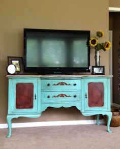antique tv stand ideas | Old buffet made into tv stand. Sanded down wood top and door fronts ...