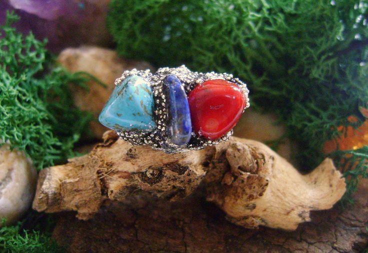 Raw Organic Crystal Ring,adjustable Ring,Torquoise,Lapis Lazuli,Red Jasper,boho jewelryGothic , polymer clay,silver foil,gemstone ring, di 8PolymerClay8 su Etsy