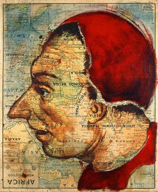 O artista baseado em Madrid, Fernando Vicente, tem uma série chamada Atlas, a qual ele cria pinturas em mapas antigos.