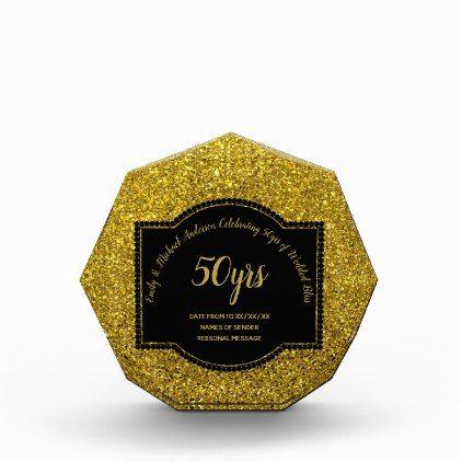 GOLDEN 50th Wedding Anniversary GOLD Glitter look Acrylic Award - anniversary gifts ideas diy celebration cyo unique