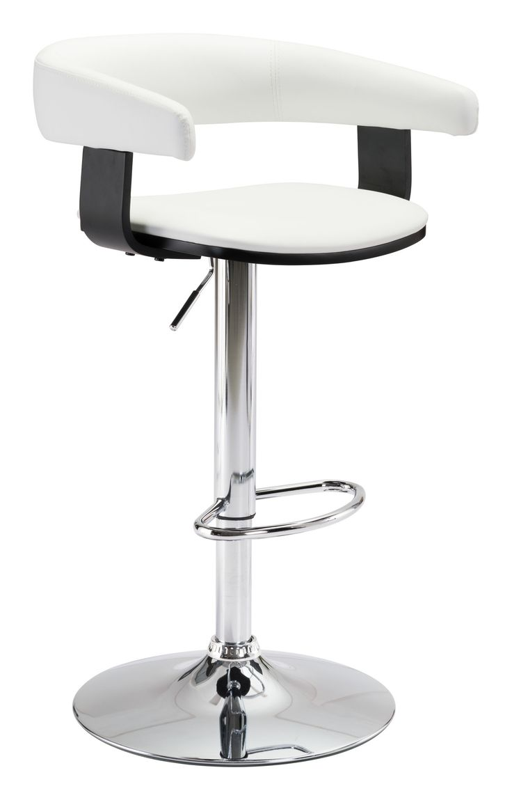 Fuel Bar Chair in White Leatherette on Chromed Steel Base