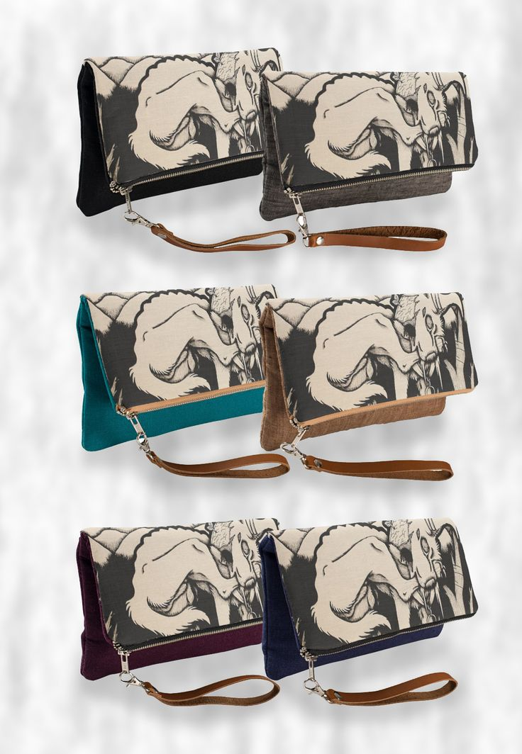 """""""Runt"""" Black and White Clutch Bag  #dog #puppy #gothic #macabre #creepy #sepia #products #items #gifts #illustration #art #drawing"""