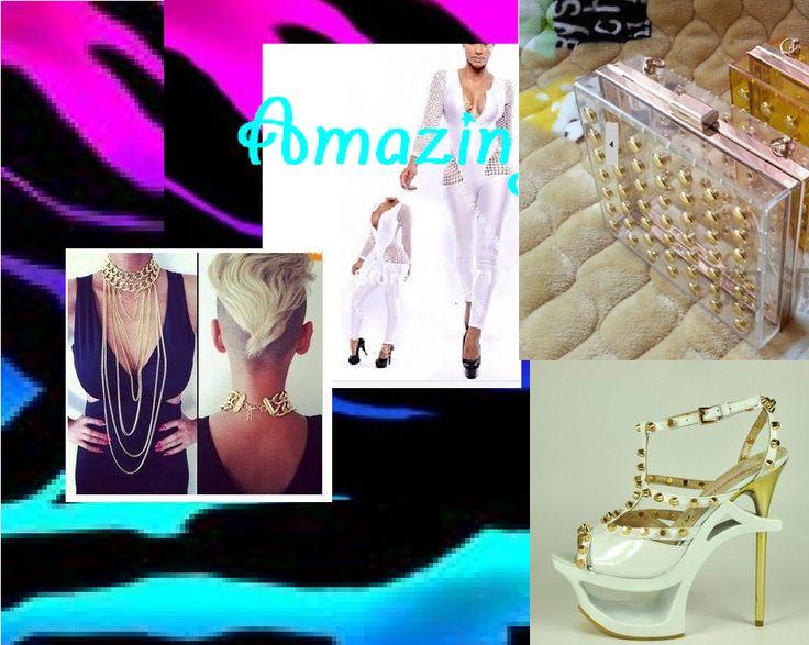 vestito intero pantaloni bianco pochette trasparente borchie oro,scarpe bianche borchie oro collana oro a catena https://www.facebook.com/pages/Amazing-SHOP-abbigliamento-scarpe-accessori/378956502238895
