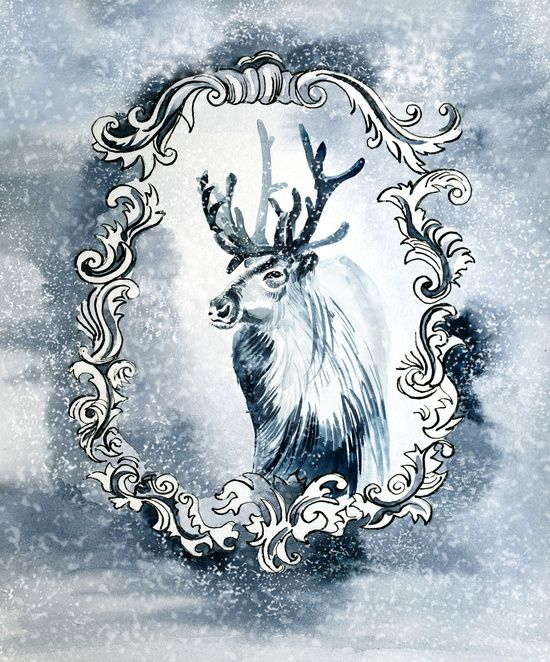 Deer in the Christmas classic frame Art Print
