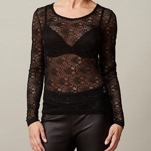 ANASTASIA T-shirt full lace, black. Shirt in full lace. Cool to wear under a jacket, so the lace is to be seen.  Coloured by the eco-tex 100 standards.