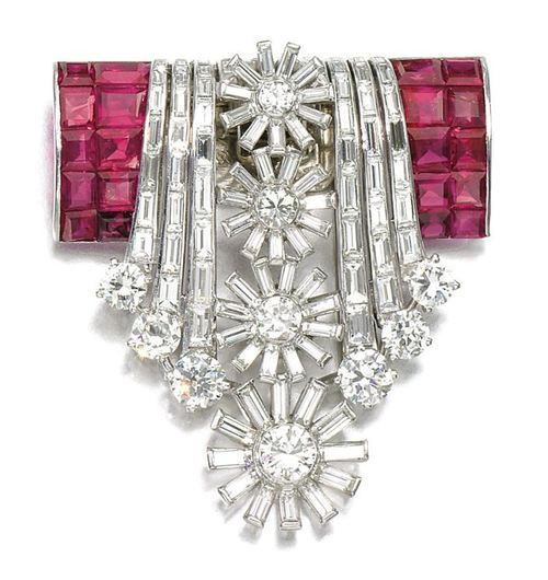 Ruby and diamond clip, c. 1950s