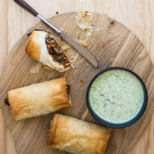 Beef & spinach filo pies