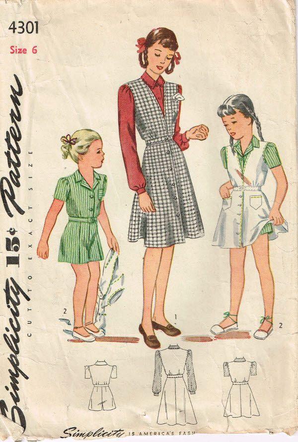 4301 semplicità ragazze camicia con maniche lunghe o corte, ponticello con tasche a toppa, pantaloncini con pieghe vintage di cucire modello dimensioni 6 busto 24 di Demi su Etsy https://www.etsy.com/it/listing/187356483/4301-semplicita-ragazze-camicia-con