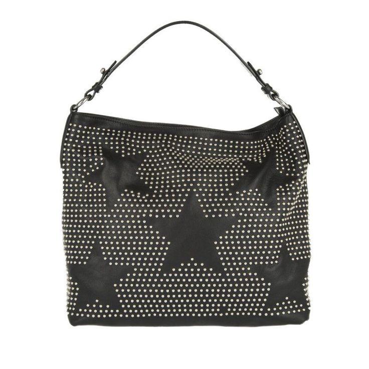 Abro Abro Tasche – Velvet/Cashmere Calf Leather Hobo Bag Black/Nickel – in schwarz – Umhängetasche für Damen
