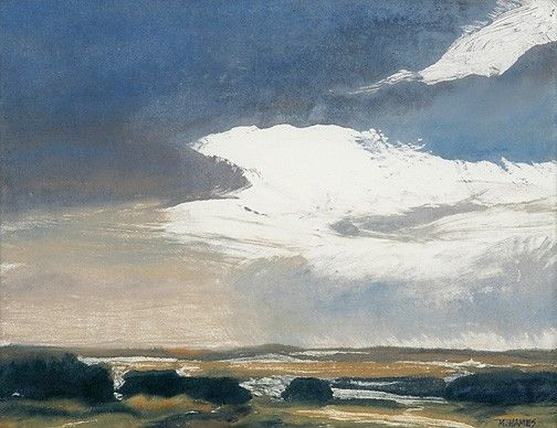 Blustering Wind. This mono-type print beautifully describes the movement of wind and weather over the prairies. Oil mono-type by artist Michael Hames.