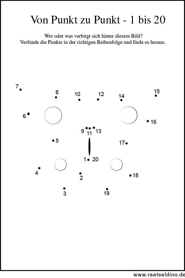Kinder Rätsel Von Punkt zu Punkt - Zahl 1 bis 20