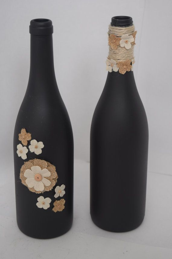 Decorative Wine Bottles Home Decor Hand by RusticChicByTanya