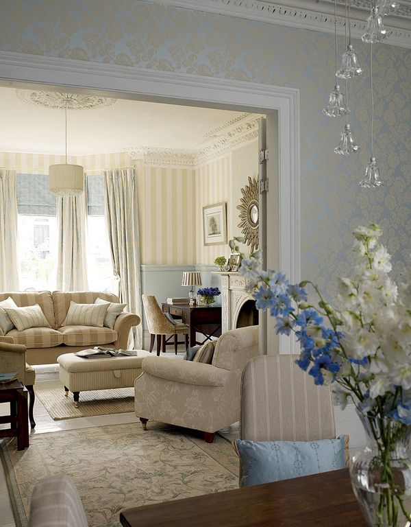 17 best ideas about striped wallpaper on pinterest for Laura ashley living room ideas