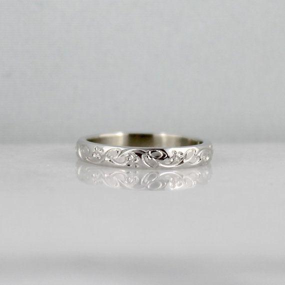 14K White Gold Wedding Band Design Band by EngagedJewelry