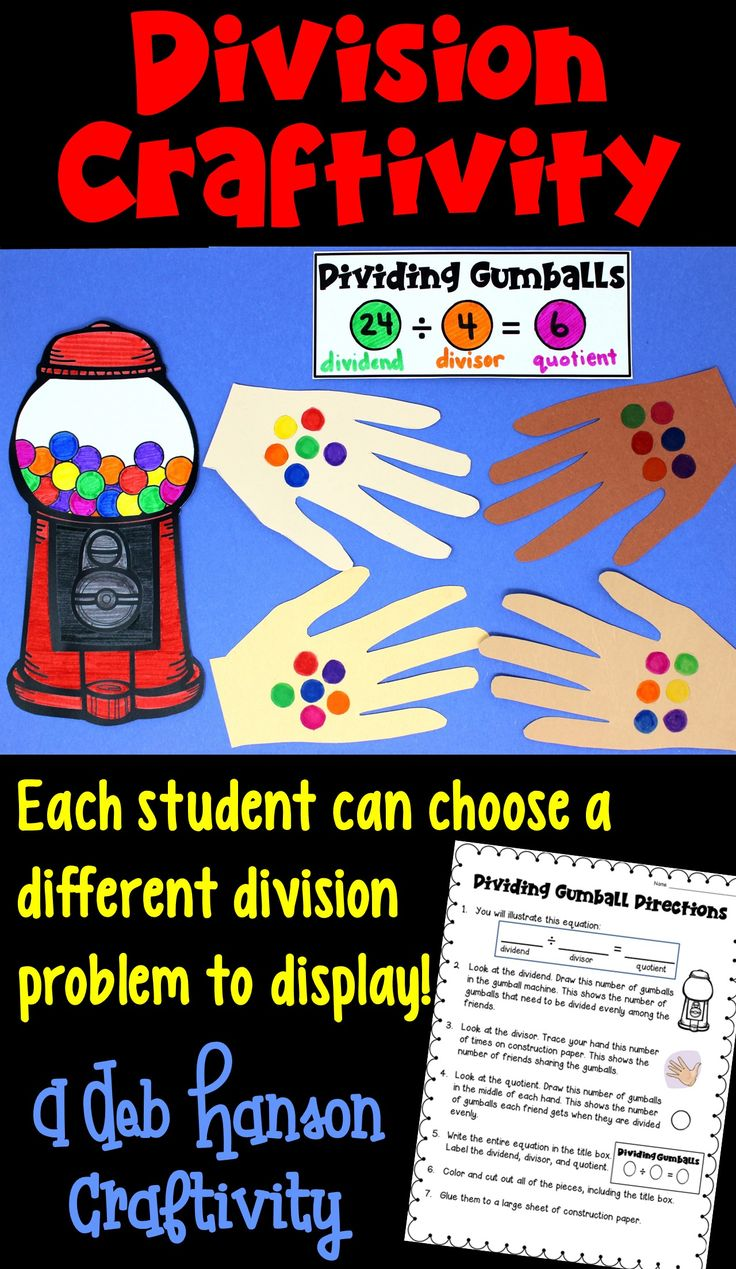 Division Craftivity- This is a great activity for students who are being introduced to the concept of division. Each student can choose a different division sentence to illustrate. This makes a great bulletin board or hall display!