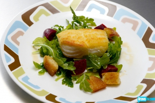 Brooke Williamson's Pan-Roasted Halibut, Panzanella Salad with Red ...