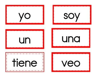 This is a list of common Kindergarten high frequency words (in Spanish!) that you can use for your word wall or as flashcards. There are 2 borders. The thicker red border are from my district's non-negotiable word list.  The thinner double border are the words from our curriculum, Tesoros.
