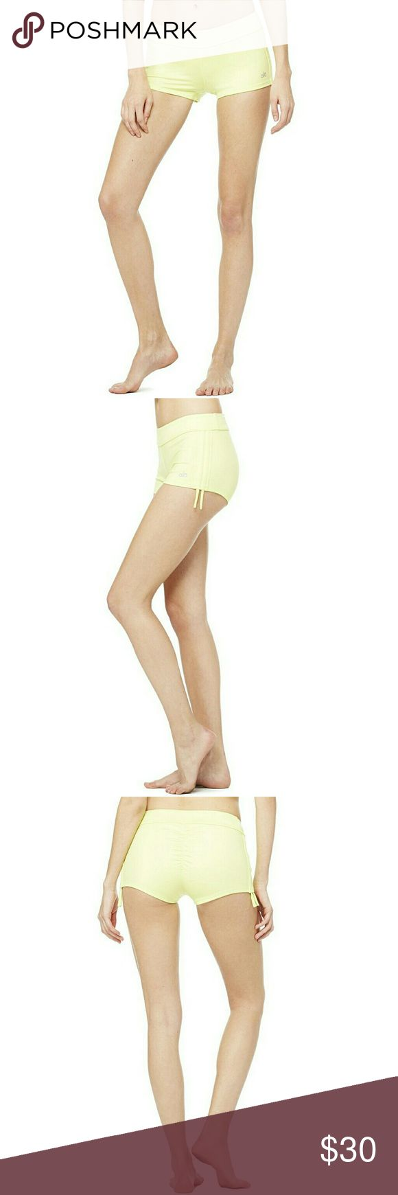 """NWT, ALO YOGA Sweat It Trunk Lime Green Shorts Brand new with tag attached, these Alo Yoga, Sweat It Trunk, Cutie Booty, swimwear inspired, SUP tested, trunks shine in a glossy new performance fabric that flaunts that lunge-sculpted behind. Features side adjuster cords and a 2"""" Inseam. Color is Sunny Lime. Lightweight, Fast-Dry Glossy Performance Fabric. ALO Yoga Shorts"""