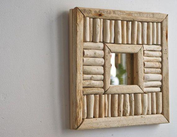 Espejo Driftwood, rústico espejo, espejo hecho a mano, espejo reciclado, casa de estilo con espejo, espejo de acento