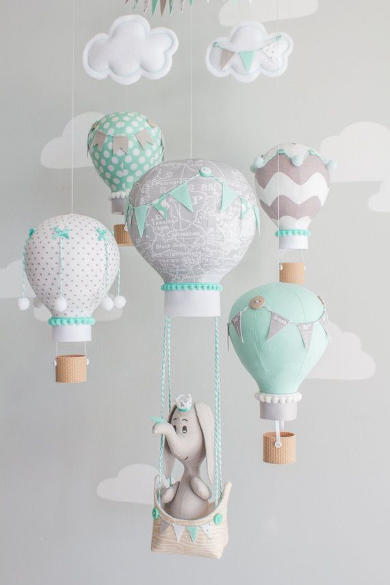 Hot Air Balloon Baby Mobile, Elephant Mobile, Aqua and Gray, Nursery Decor, Travel Theme, Nursery Mobile, i145