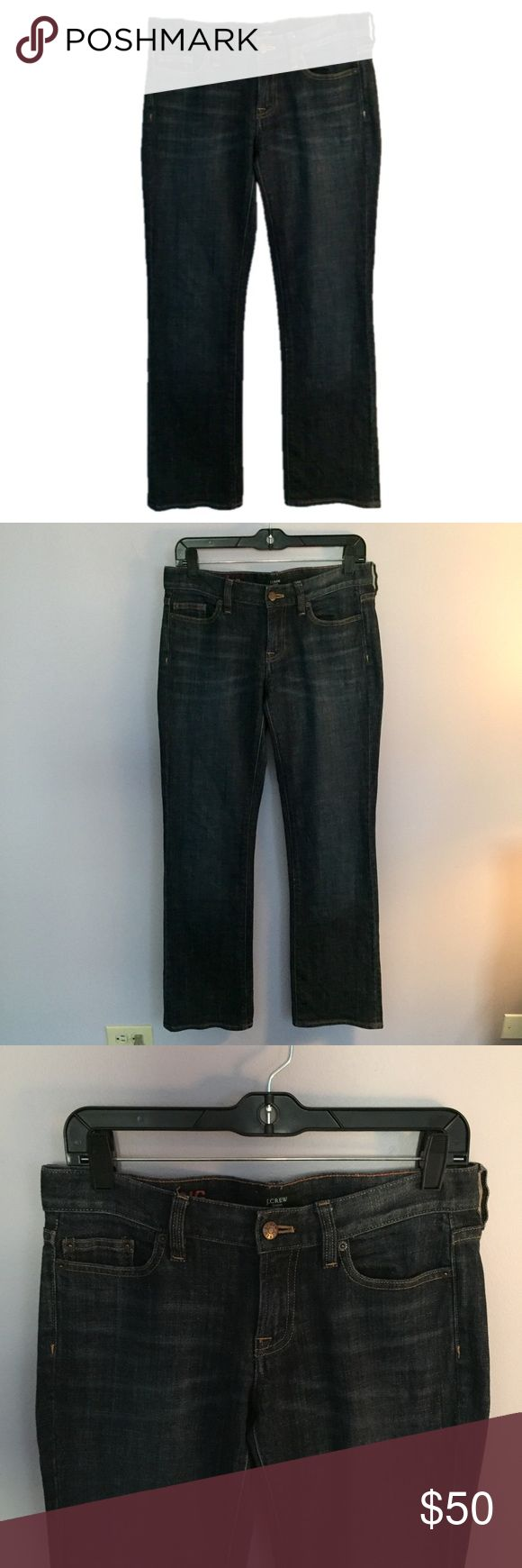 """J. Crew Hipslung Dark Blue Jeans J. Crew Hipslung Dark Blue Jeans. NOT SKINNY JEANS. THERE IS ONE SCRATCH ON THE BACK NEAR THE POCKET. SEE PICTURE 4. Size 28 Regular. Equivalent to a size 6. Waist 31"""" Hips 36.5"""" Inseam 31.25"""" Excellent Condition! Let me know if you have any questions! ✅ I LOVE OFFERS ✅ 💜INSTAGRAM: @ocaputostyle J. Crew Jeans"""
