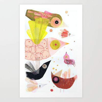 birds and more birds... Art Print by Marta Torrão - $19.00