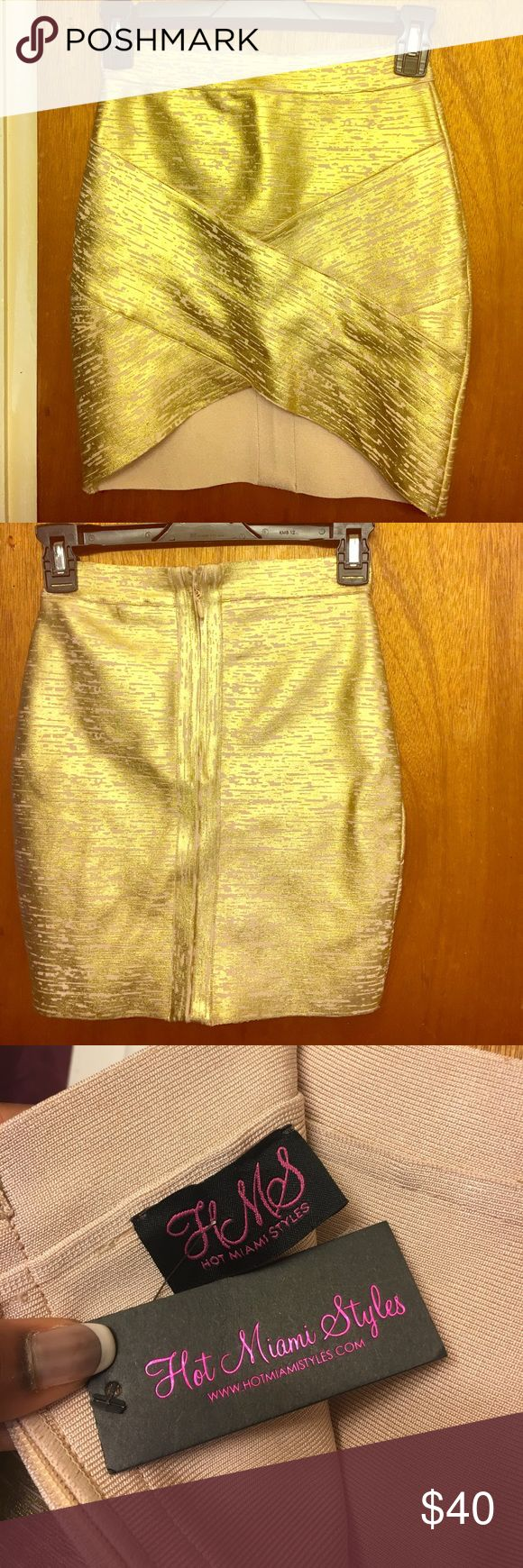 NWT Hot Miami Styles Gold Bandage skirt size Med New With Tags Hot Miami Styles Gold Bandage Mini skirt. Size Medium. High- Low style. Super sexy Hot Miami Styles Skirts Mini