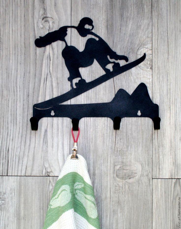 """Купить Вешалка """"Сноубордист"""" - черный, сталь, сноуборд, сноубордист, горные лыжи, катание, фристайл, подарок"""