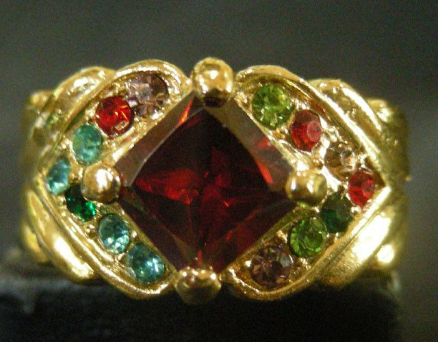 COLOURFUL ATTRACTIVE MULTI GEMSTONES  RING SIZE 19 11603
