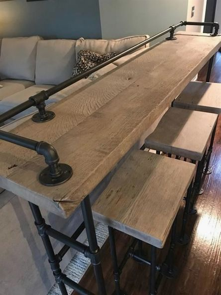 Rustic Gray Reclaimed Barn Wood Sofa Bar Table 8 Foot Restaurant Counter Community Cafe