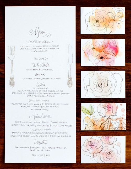 beautiful wedding suite ... menu and place cards