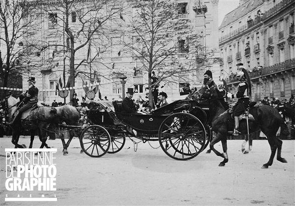 Visite du tsar de Russie Nicolas II. Le tsar avec le président Félix Faure. Paris, 1896.