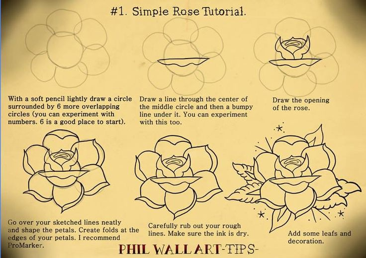 Drawing an old school rockabilly rose graphics for Easy rose drawing tutorial
