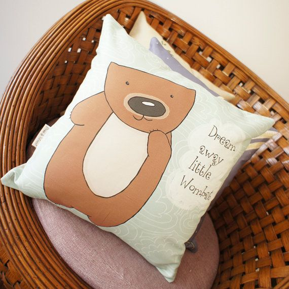 Cushion Cover small pillow case Dreamy Wombat door possandwom, $35.00