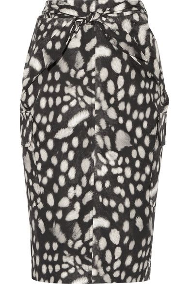 Max Mara - Leopard-print Cotton-poplin Skirt - Charcoal - UK