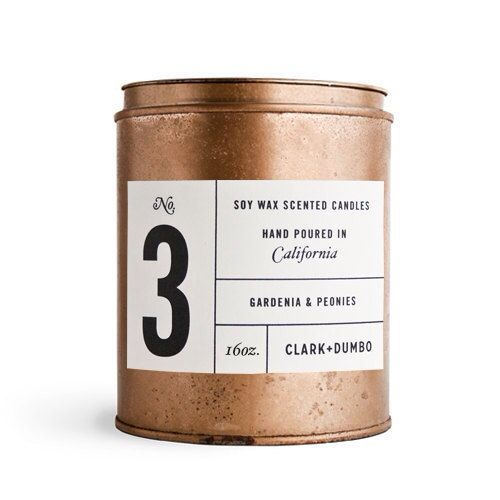(2) Clark + Dumbo soy wax candle, Etsy | candles | Pinterest / Packaging / Design / Inspiration / Ideas / Scented / Candle / Copper / Number / Black and White / B&W / Metal / Nordic